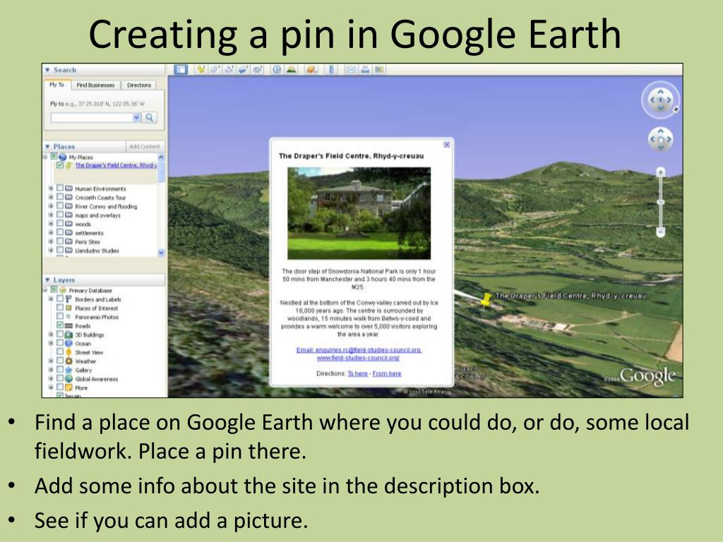 Creating a pin in Google Earth