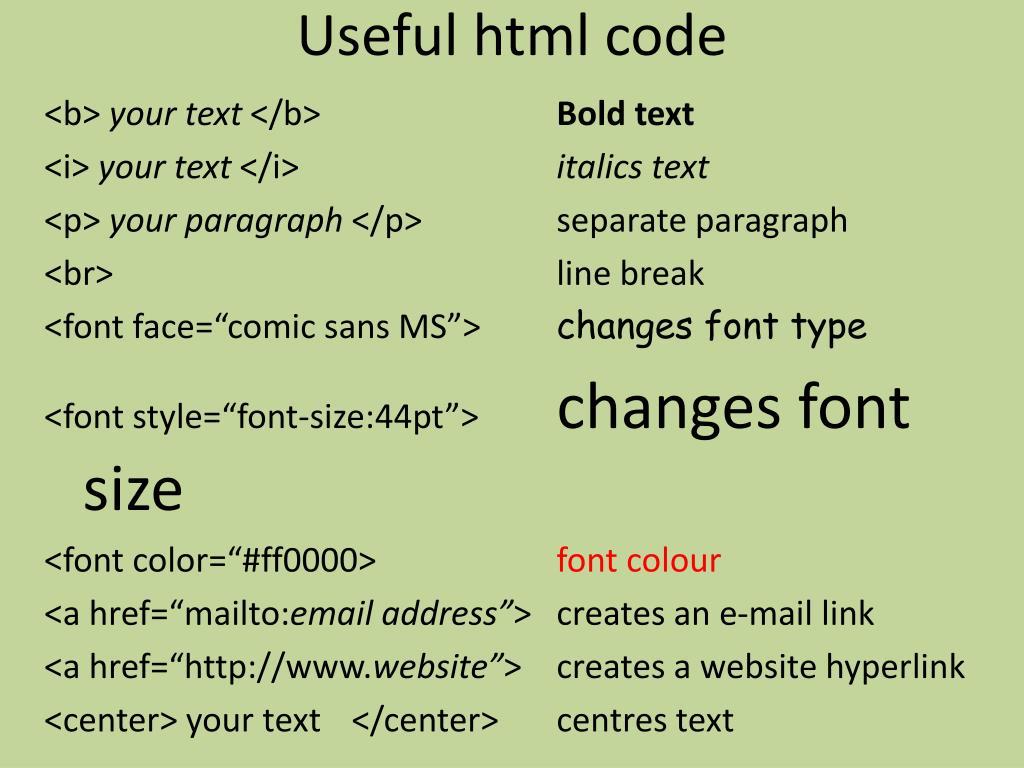 Useful html code
