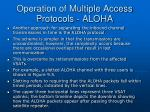 operation of multiple access protocols aloha
