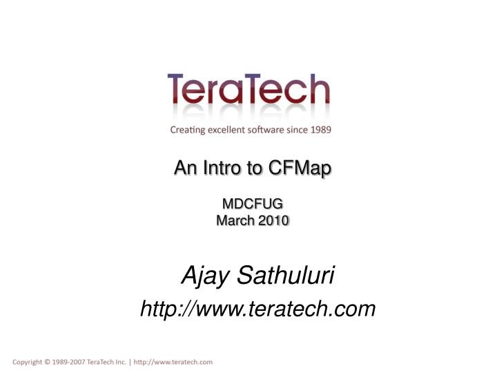 An intro to cfmap mdcfug march 2010
