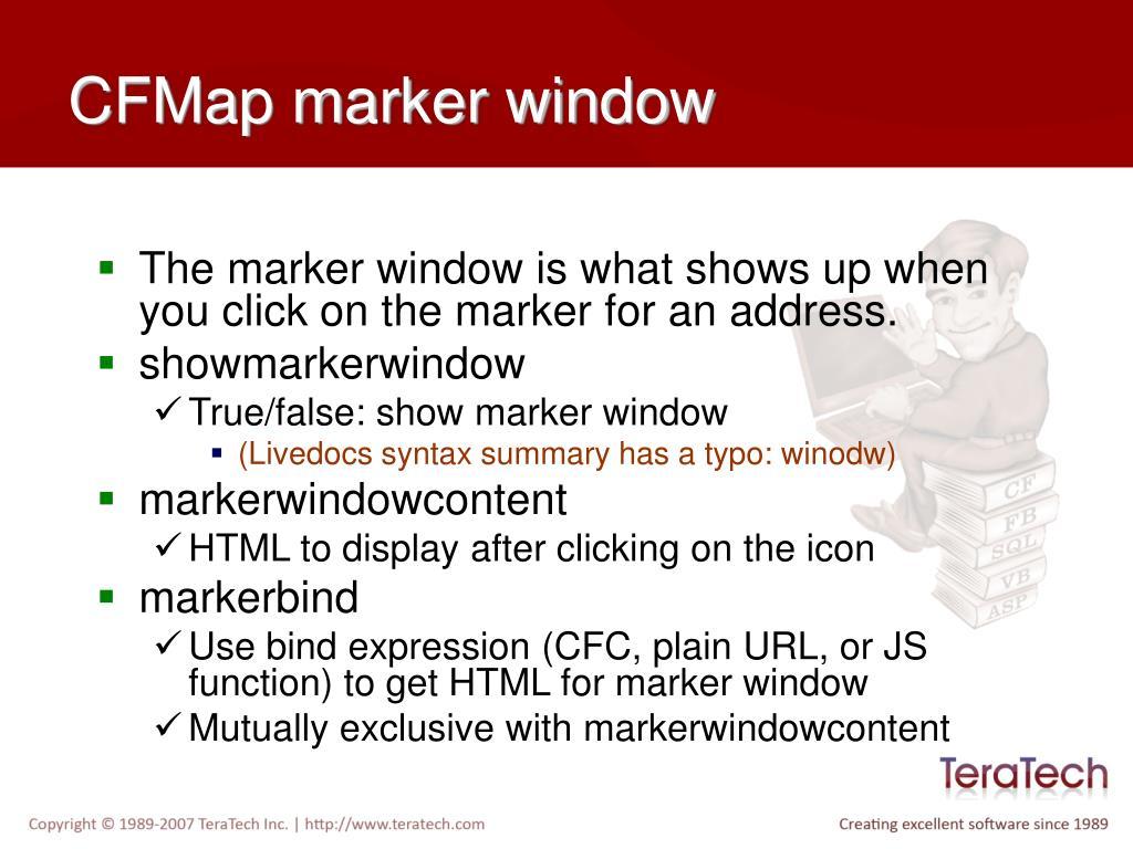 CFMap marker window