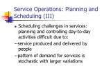 service operations planning and scheduling iii