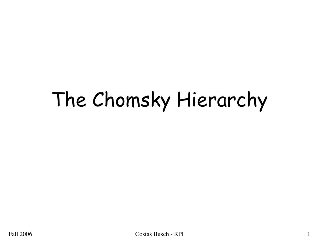 the chomsky hierarchy l.
