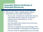 amended official certificate of estimated resources