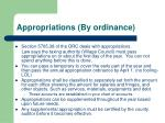 appropriations by ordinance