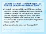 latent tb infection treatment regimens isoniazid inh and rifapentine rpt 1