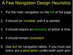 a few navigation design heuristics