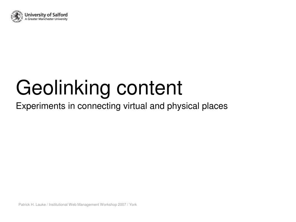 experiments in connecting virtual and physical places l.