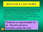 bolivar s last word