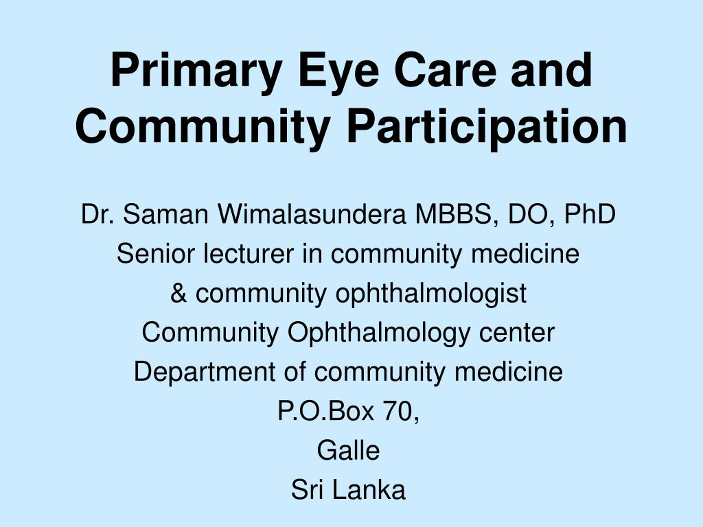 primary eye care and community participation l.