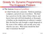 greedy vs dynamic programming the knapsack problem