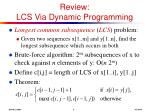 review lcs via dynamic programming