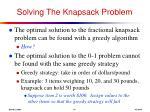solving the knapsack problem