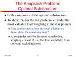 the knapsack problem optimal substructure