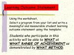 learning outcome statement24