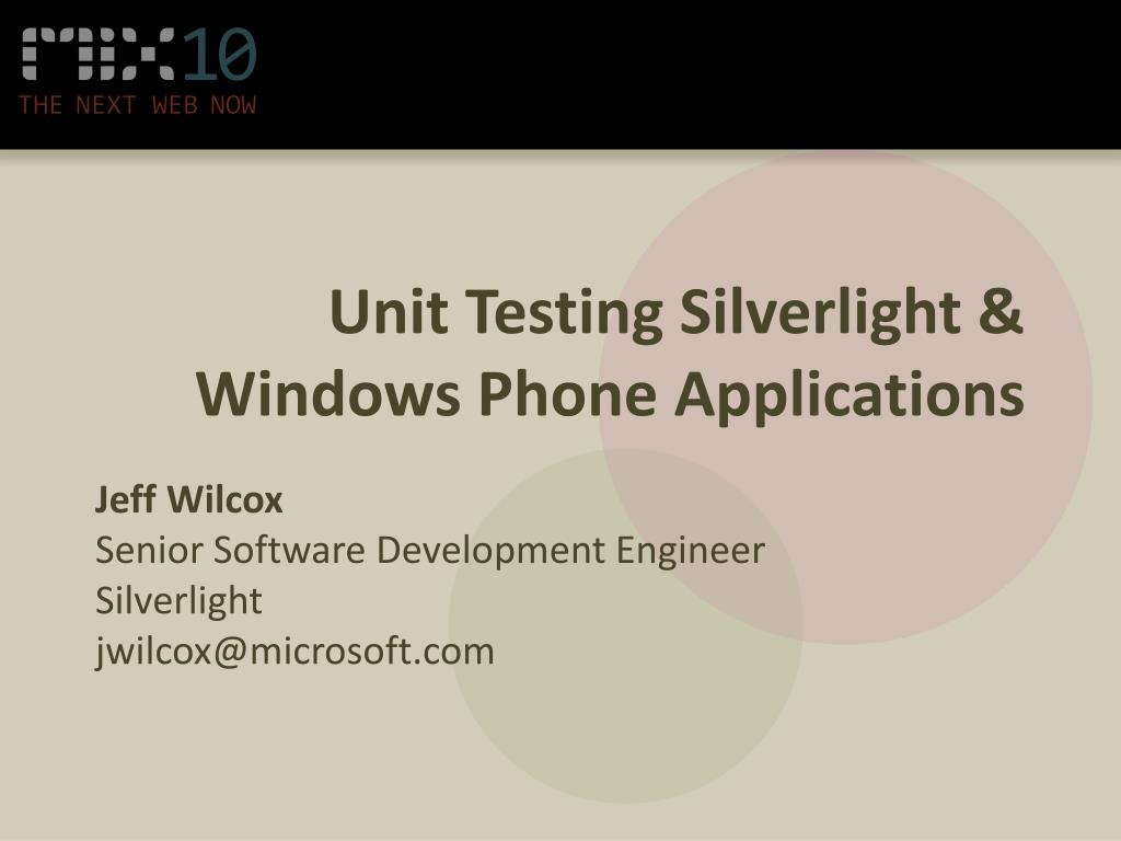 unit testing silverlight windows phone applications l.