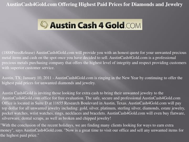 AustinCash4Gold.com Offering Highest Paid Prices for Diamonds and Jewelry