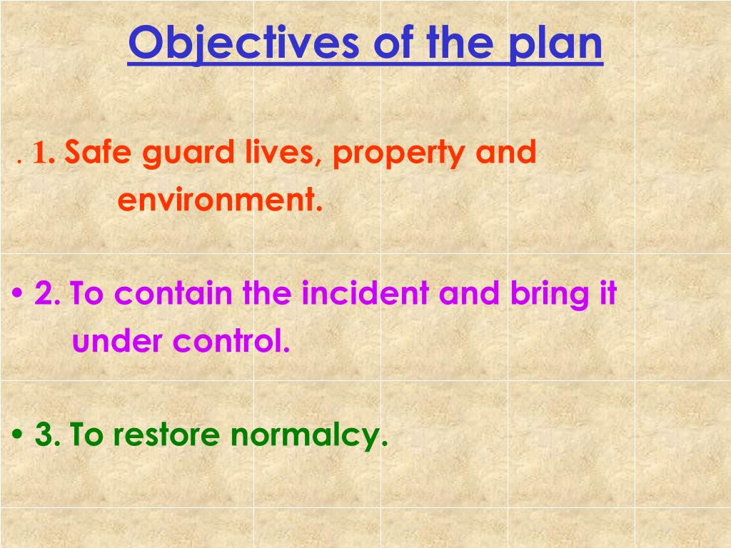 Objectives of the plan