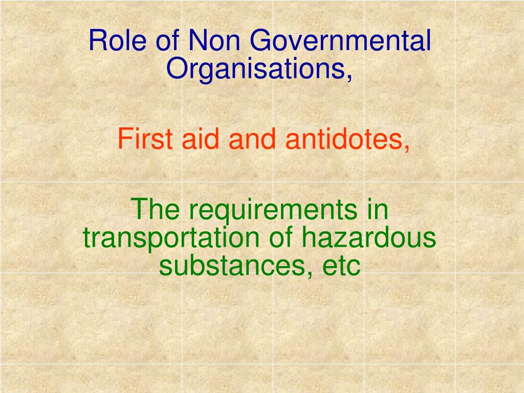 Role of Non Governmental Organisations,