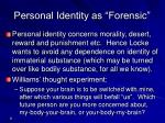 personal identity as forensic