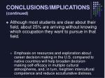 conclusions implications continued20