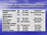 le profil des demandeurs d emploi donn es 2007 carts extr mes par communes