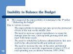 inability to balance the budget