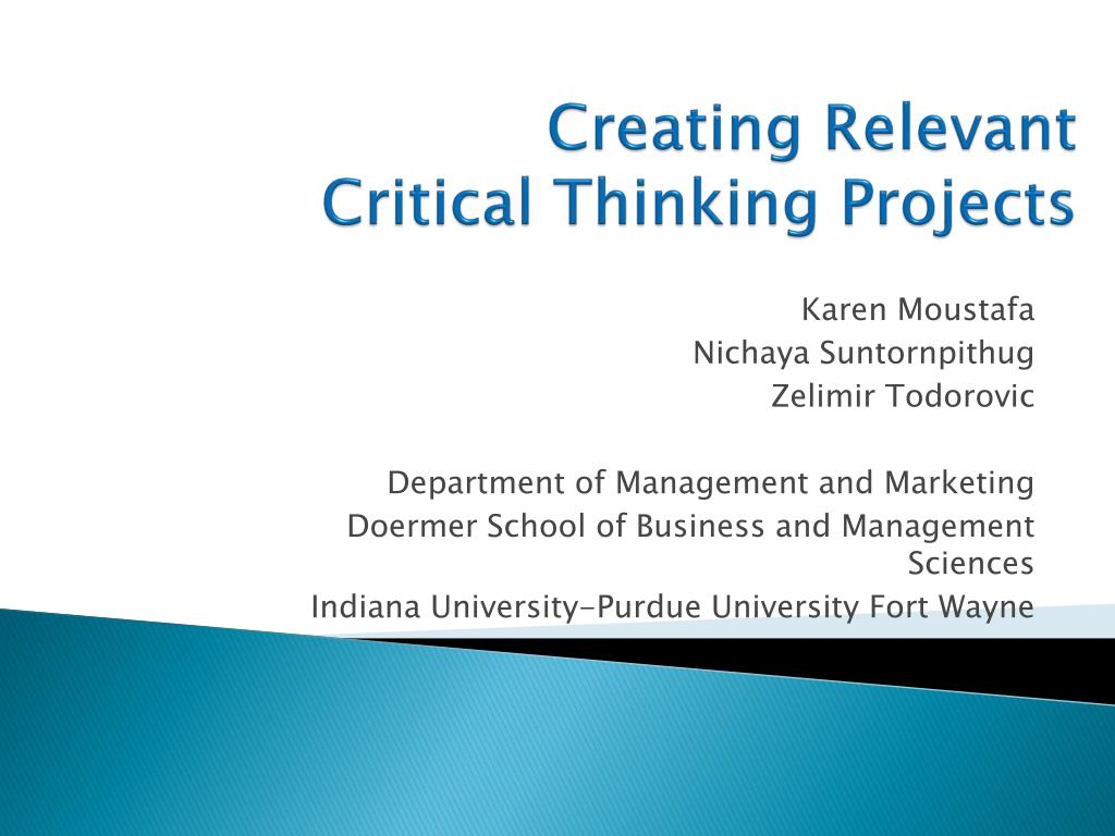 creating relevant critical thinking projects l.