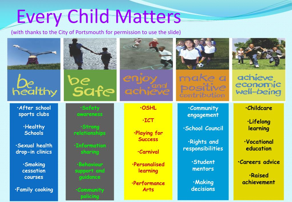 every child matters with thanks to the city of portsmouth for permission to use the slide l.
