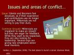 issues and areas of conflict22
