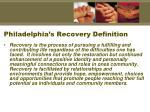 philadelphia s recovery definition