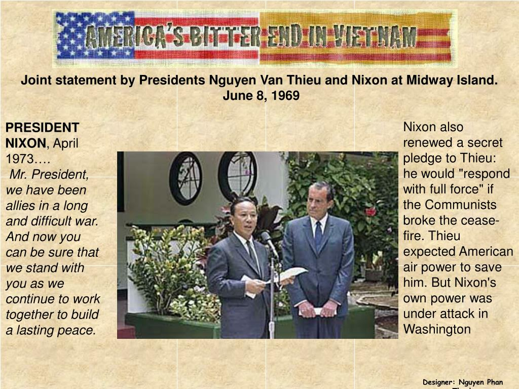 Joint statement by Presidents Nguyen Van Thieu and Nixon at Midway Island.