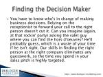 finding the decision maker