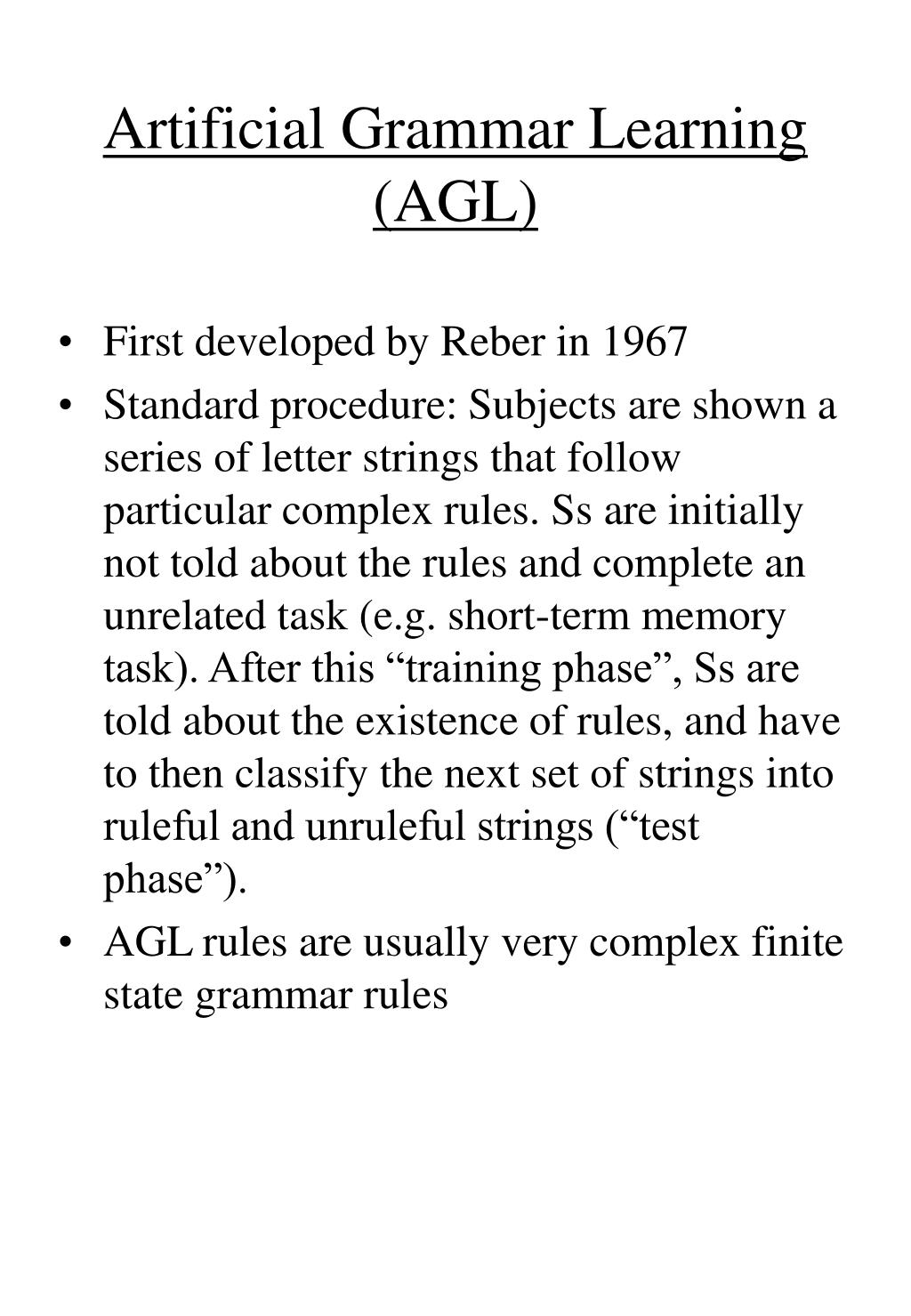 artificial grammar learning agl l.