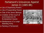parliament s grievances against james ii 1685 88