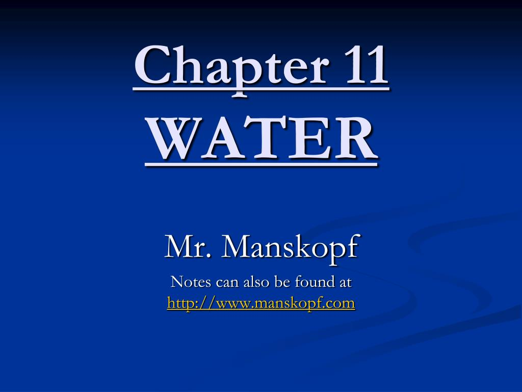 chapter 11 water l.