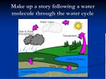make up a story following a water molecule through the water cycle