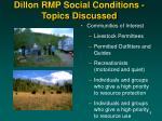 dillon rmp social conditions topics discussed8