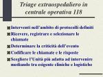 triage extraospedaliero in centrale operativa 118