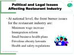 political and legal issues affecting restaurant industry