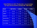 salud p blica en alc producci n en porcentaje por tipo de documento lilacs sp 1980 2002
