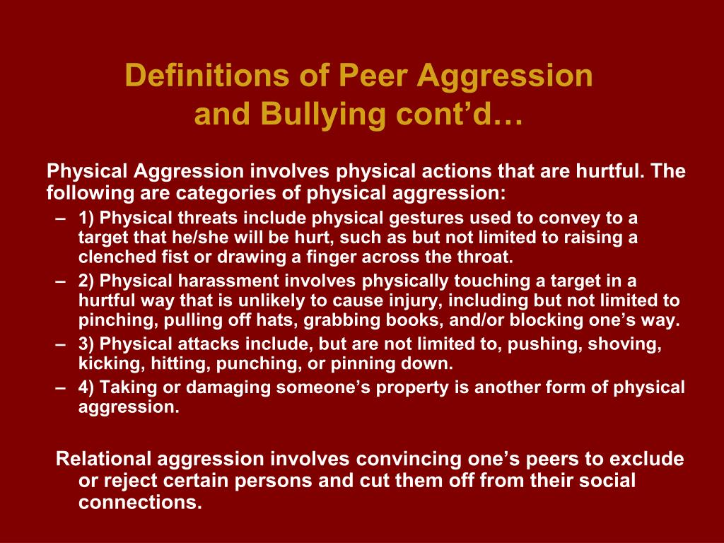 Definitions of Peer Aggression