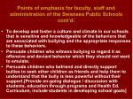 points of emphasis for faculty staff and administration of the swansea public schools cont d