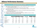 alliance performance summary