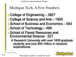 michigan tech a few numbers