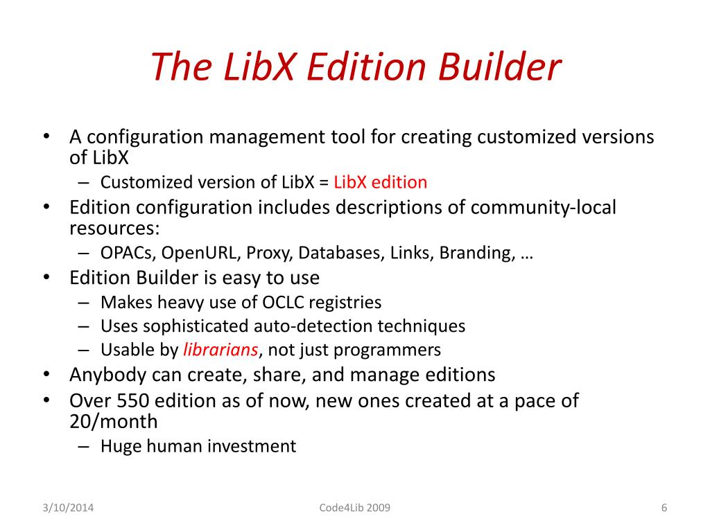 The LibX Edition Builder