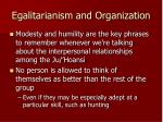 egalitarianism and organization