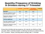 quantity frequency of drinking in drinkers during 1 st trimester