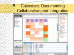 calendars documenting collaboration and integration