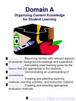 domain a organizing content knowledge for student learning